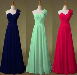 Wholesale 2015 One Shoulder Chiffon Evening Bridesmaid Dresses Green Navy Blue Lime Lilac Handmade Flowers Long Bridal Prom Party Prom Gowns In Stock