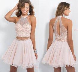 Wholesale Short Sweet sixteen Halter Homecoming Dresses Graduation Dresses Backless Grade Halter Girls Formal Dresses Homecoming Gowns