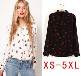 Wholesale casual women summer style Printed chiffon blouse long sleeved shirt with red lips blusas XS SML XL XXL XXXL4XL5XL