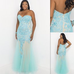 Wholesale Plus Size Formal Dresses Prom Light Sky Blue Lace And Tulle Sweetheart Sheath Long Evening Gowns Fitted Special Occasion Party Dress