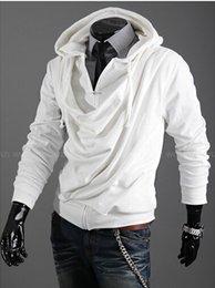 2015 моды кучи воротник дизайн прилива мужчин случайных личности Slim Остался с капюшоном пальто свитер джемпер. @ Ds238f