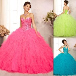 Wholesale Vestidos Debutante Baratos rosa Vestidos de quinceañera vestidos de bola del amor de Tulle del corsé del vestido de dulce para el partido ocasión especial