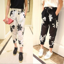 Wholesale 2015 Kids Girls Harem Pants Cool Retro Chiffon Embroidered Flowers Elastic Casual Pants Baby Long Pants Childern s Clothing White Black