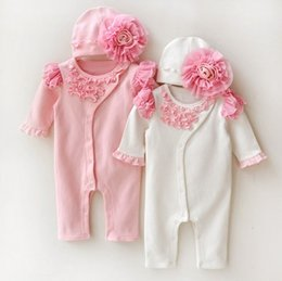 Wholesale baby girl infant toddler long sleeve outfits princess romper lace romper chiffon layers sleeve cotton pajamas PJ S Sleeping bag hat cap