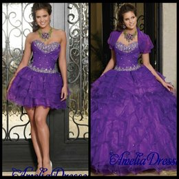 Wholesale Ball Gown Purple Sweetheart Neckline Ruched and Beaded Bodice Tiered in Quinceanera Dresses with Detachable Skirt Chic Jacket