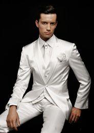 Wholesale Classic White Groom Tuxedos Custom Made Groomsman Suit High Quality Wedding Mens suits Jacket Pants Vest Tie