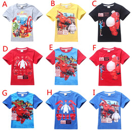 Wholesale Cartoon BIG HERO Kids Baymax Short Sleeve T shirts Cute Hiro Baymax Boys Top Tees Fashion Tshirt For Kids yr A0056