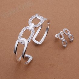 Frete grátis, jóias de moda por atacado, 925 brincos de prata esterlina dois conjuntos de pulseiras requintado