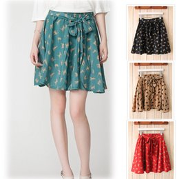 Wholesale 2014 SUMMER NEW CAT PRINTED PATTERN RETRO LACING WAIST DOUBLE POCKET CHIFFON SKIRTS WITH LINING