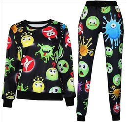 Wholesale 3D tracksuits print cartoon emoji jogging suits sweat shirts pants piece set for men women sportwear new