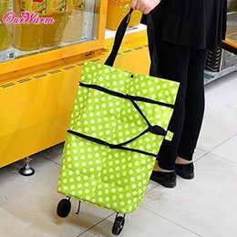 Wholesale Green Orange Foldable Shopping Trolley Folding Wheel Shopping Cart Handbag Luggage Tote Bag with Polka Dot