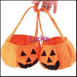 Wholesale Halloween Trick or Treat Pumpkin Candy Bag Basket Cute Smile Face Children Gift Handhold Pouch Tote Bag Non woven Pail Props Decoratio