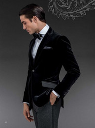 Wholesale 2015 New tailored velvet Groom tuxedos wedding suits for mens pieces suits jacket Pants bowtie CM76806