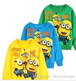 Wholesale 2016 New Minions baby clothes boys girl Cartoon design round minions collar fleece Baby wear t shirts Children s clothing christmas