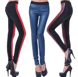 Wholesale Women Pants Autumn New Arrival Women PU Leather Splicing Leggings L1AFAA
