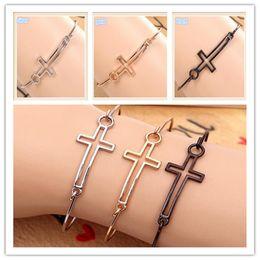 Wholesale 2014 colors alloy gold plated hollow cross bracelets european design style charm bracelets for women