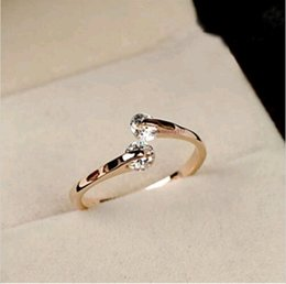 Wholesale Hotsale Women K Rose gold GP Swarovski Crystal Engagement Ring Size DH04