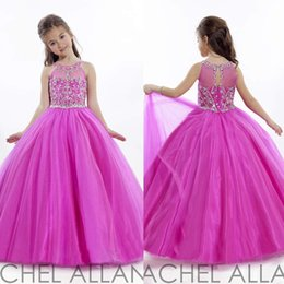 Wholesale 2016 Glitter Fuchsia Girl s Pageant Dresses with Crystal Beaded Jewel Ball Gown Puffy Tulle Dresses for Pageant Little Flower Girl s Dress