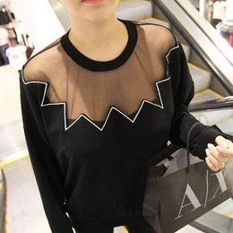 Wholesale Korea stylenanda mesh wave embroidery round neck sweater