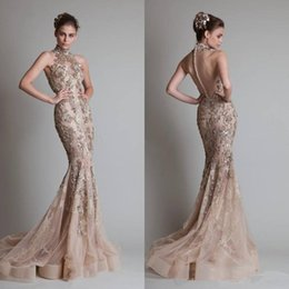 Wholesale Amazing prices bling bling Sexy High Neck Organza Beading Button Back Mermaid Elie Saab Evening Dresses With Luxurious Sheer Formal Dress
