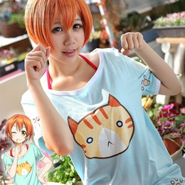 2017 live t shirts Wholesale-Halloween Fancy Party Japanese Anime Love Live! Cosplay Clothes Rin Hoshizora Costumes Cats T-shirt & Red Vest Pajamas inexpensive live t shirts