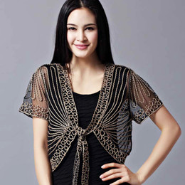 Wholesale 2016 M L XL XXL Black White Beige Fashion Women Female Elegant Cardigan Shrugs Tops Blouse Front Tie Lace Bolero Short Sleeve Embroided