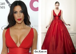 Wholesale Real Simple Sexy Kim Kardashian Red V Neck Spaghetti Strap A Line Prom Dress Celebrity Dresses New Fashion