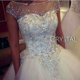 Wholesale Robes de mariée robe de bal Nouvelle magnifique princesse W1455 Brillant nuptiale véritable image Tulle de luxe strass fait à la main Crystal Sheer Top