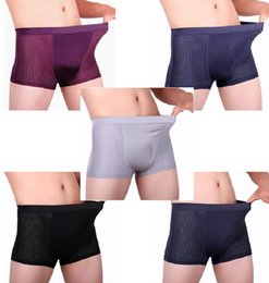 Wholesale 5pk Men s Boxer Briefs Shorts Underwear Breathable bamboo fiber mesh One Size Mens Comfy Sexy Underwear Shorts Bulge Pouch Soft