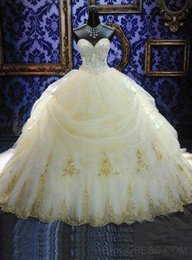 Wholesale Elegant Sweetheart Ball Gowns Quinceanera Dresses Organza Gold Appliques Beaded Masquerade Debutante Gowns Plus Size Sweet Dress Custom