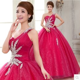 Wholesale 2015 Quinceanera Dresses Organza Ball Gown One shoulder Beads Crystals Cascading Ruffles Sweet Prom Dresses Plus Size Party Dresses