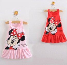 Wholesale 2015 D cartoon children Mickey Minny Mouse sundress cotton baby kids summer Vest Skirt dresses dress jumper leisure wear clothes