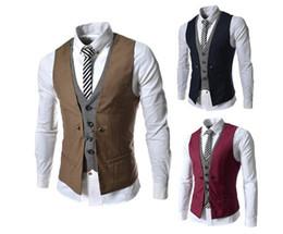 Wholesale men vest suit mens sleeveless jacket Hot New Men s plaid spell color Slim casual vests