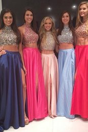 Wholesale Two Pieces Party Dresses with Sparkly Beading New High Neck Prom Dresses with Split Side Ruched Chiffon Floor Length Long Evening Gowns