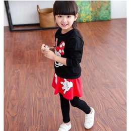 Wholesale Cheap Children girls clothing sets spring autumn Minnie Mouse clothing long sleeveT shirts False two skirts pants kids sets clothes