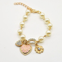 fashion women pearl jewelry gold plated sweetheart pendant bracelet rhinestone letter d hand chain lady girls y50mhm215m5