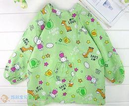 Wholesale Waterproof anti dress smock coat children eat baby smock multicolor cotton SML