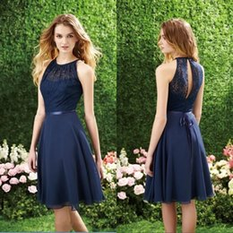 Wholesale Cheap Homecoming Dresses New Halter Short Navy Blue Purple Lace Chiffon Bridesmaid Dresses Knee Length Beach Wedding Party Dresses