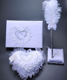 Wholesale 3Pcs set Burlap Hessian Lace Wedding Guest Book Pen Set Ring Pillow Garter Decoration Bridal Product