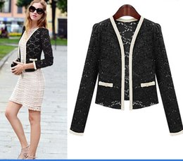 Wholesale DROPSHIPPING New Top Coat Sexy Sheer Lace Blazer Lady Suit Outwear Women OL Formal Slim Jacket Black White S XL DK1852JA