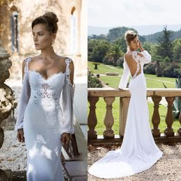Wholesale Hot Sexy Mermaid Long Sleeve Wedding Dresses Julie Vino Sweetheart Backless Fashion Sweep Train Appliques Lace Cheap Bride Gowns