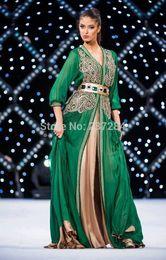 Wholesale 2015 Long Sleeve Muslim Kaftans evening Dress Dubai Green Embroidery Popular Arabic Chiffon Kaftan Islamic Abaya dress evening Kaftan Dubai