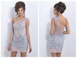 Wholesale Stunning Latest Tulle Homecoming Dresses Lilac One Shoulder Sleeveless Sheer Back Iridescent Mini Sheath Gowns Blush C155