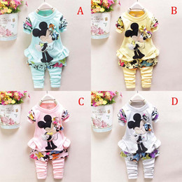 Wholesale New Cartoon Minnie Mickey mouse clothes suits new Baby Girls Long sleeved jacket Trousers Two piece Suits B001