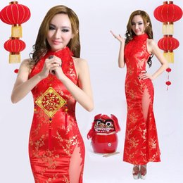 Wholesale Chinese Folk Dance Traditional Clothes Rayon Vintage Long Foot Length Cheongsam Dress Red Female Sexy Qipao