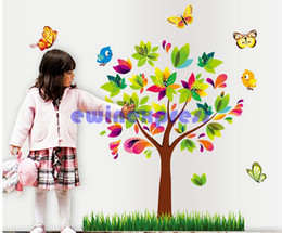 online shopping Butterfly Colorful Tree Green Grass Birds Wall Stickers wall arts for kids room tree wall decal baby room home decoration diy
