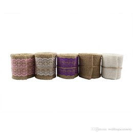 Wholesale 10 Rolls M Natural Hessian Burlap Ribbonwith Lace Rusitc for Wedding Event Party Gift Wrapping Decoration Product Supplies MD
