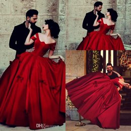 Wholesale Red Hot Sale New Quinceanera Dresses Off the Shoulder Ball Gown Bow Sleeveless Floor Length Backless Lace up Satin Quinceanera Gowns