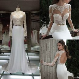 Wholesale 2016 Berta Lace Wedding Dresses Sexy Long Sleeves Sheath Backless Wedding Gown Elie Saab Sheer Neck Sequin Sash White Bridal Dress