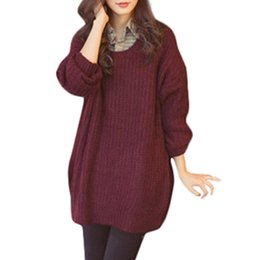 Wholesale S5Q Women Oversized Round Neck Knitted Batwing Sleeve Tops Loose Outwear Sweater AAAFGW